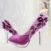 adult bridesmaid shoes - New bride purple bridesmaid shoes round head thin with adult time summer shoes female diamond wedding white high heels