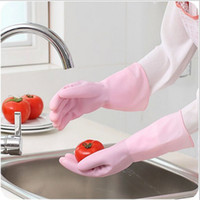 Wholesale Household Gloves Tea Tree Oil Latex Rubber Thin Durable Waterproof Gloves Wash Laundry Cleaning Chores Solid Dish Washing Gloves