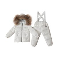 baby snow bibs - 2Pcs Baby Boys Girls Winter Pants Sets Kids Bib Pants Hooded Outerwear Coat Snowsuit Snow Wear Clothing Down Clothing Sets V30