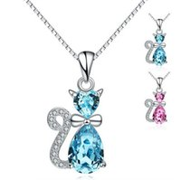 austria quality - 2016 New Top Quality Sterling Silver Cat Pendant Zircon Austria Crystal Pendants Fit Necklaces Chain For Women Charm Fashion Jewelry