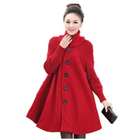 Wholesale Plus Size Woolen Coat Winter Coat Women Cloak Style Wool Jacket Turtleneck Knitted Stitching Maxi Coats Long Jacket Parkas C2675