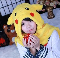 Wholesale Cute cartoon Pikachu Plush Hat With Gloves Cap Long Ear flap Lovely Warm Hat Gloves Hollween Christmas Gift A0286