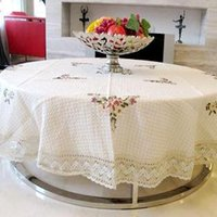 Wholesale Round Handmade Embroidery Flowers Vintage Table Cover Lace Beige Cotton Tablecloth