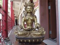 amitayus buddha - Tibet Buddhism Temple Copper Bronze Gild Amitayus GuanYin Kwan yin Buddha Statue