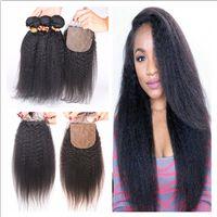 Cheap Virgin Brazilian Kinky Straight Hair With Silk Base Closure 4Pcs Lot Italian Coarse Yaki Brazilian 4x4 Silk Top Closure With Weave Bundles