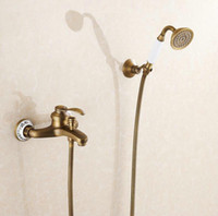 Wholesale Blue White Porcelain Antique Brass Bath Shower Faucet Set Exposed Hand Shower Set Bathroom Wall Mounted Shower Valve Set1250