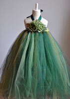 Wholesale New Arrival Green Lovely Flower Girls Dresses Floor Length Long Girls Casual Dresses Cheap Promotional Summer Kids Party Gowns MC0196