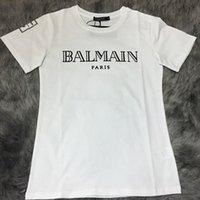 Wholesale New High quality brand jeans balmain paris women s tshirts black white color cotton o neck short men s t shirts plus size BM001