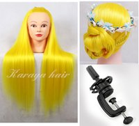 training manikins - Yellow Yaki hair professional styling head with a holder female manikin Doll display head Colorful hairdressing training heads mannequin