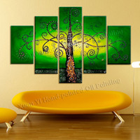 best paper wall decoration - 5 Piece Canvas Wall Art Hand Painted Green Tree Painting Best Art Abstract Oil Painting On Canvas Home Decoration Wall Picture