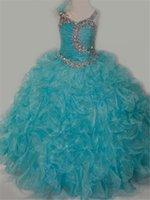 achat en gros de filles organza lacets-2016 New Fashion Sweet Little princess filles Off-épaule robes Pageant perles de cristal Retour Lace-up Jupe Birthday Party Enfants Flower