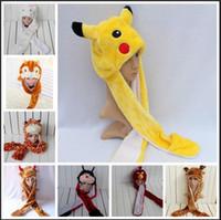 Wholesale 30 Styles Hats For Women Men Pikachu Cartoon Plush Animal Fur Full Hooded Hat Women Children Costume Beanies for Adults Fur Hat Scarf