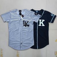 V-Neck baseball tees women - hot Last King LK KNYEW KINGIN Striped black Baseball Jersey T Shirts Men Women Hip Hop top Tees Streetwear T Shirts
