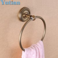 antique towel ring - Bathroom towel holder solid brass Wall Mounted Round antique brass Towel Ring with ceramic Towel Rack YT