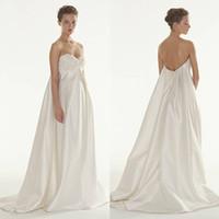 Wholesale Empire Waist Maternity Wedding Dresses Satin Applique Floor Length Sweetheart Pregnant Bridal Gowns Sleeveless Backless Plus Size