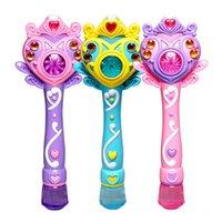 achat en gros de mitrailleuses jouets gros-Gros-Cartoon Princesse Bubble électronique automatique Maker Machine Toy plage Outdoor Bubbles Toy Gun W / Light Music For Girls Gift