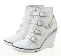 Wholesale Women s ASH Thelma Wedge Sneakers Leather White With Black Edge Hot Sale High Top ASH Trainers Sheepskin Tide Women ASH Wedge Sneaker Shoes