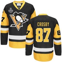 Wholesale 2016 STANLEY CUP FINAL jerseys PITTSBURGH PENGUINS SIDNEY CROSBY BLACK STANLEY CUP FINAL patch black yellow man home JERSEY