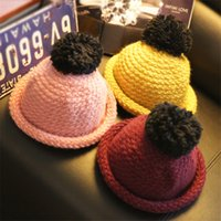 Wholesale Children Kids Top Hats Dome Mohair Knitting Hat with Ball Boy Girl Round Hat Edge Roll Cap colors