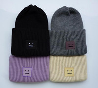 animal headgear - Winter Fashion smile face Beanie Classic Tight Knitted Fur Pom Poms Hat Women Cap Winter Beanie Headgear Headdress Head Warmer Top Quality