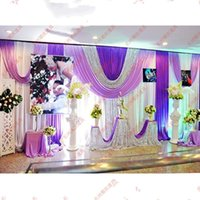 Wholesale 3 M ice silk white color Wedding backdrops curtains with purple pleated swag And silver Sequin Fabric for Wedding party event Decoration