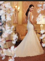 Wholesale Mermaid Wedding dresses Real Photo White Ivory Lace backless wed dress Two colors Bride Dresses Custom Made Vestidos De Noiva Em Renda