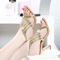 Wholesale New sexy han edition coarse shoes summer with studded leather sandals female diamond high heels