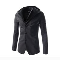 Wholesale 2016 New Arrival Blazer Men Individuality Design Vestidos Wear Blusas Men Solid Color Casual Hooded Blazers Masculino Suits hot