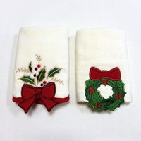 bath towels discount - Direct factory discount stocking Christmas decoration full cotton cheap white face hand bath gift soft towels