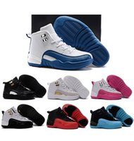 autumn children games - Hot Kids Retro flu game Basketball Shoes Black Playoffs the Master shoes French blue Athletic Children Sneaker for Boy Girl Birthday Gift