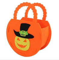 Wholesale New DIY halloween pumpkin bags for children styles high quality kids Non woven halloween gift candy bag handbag Party Supplies