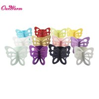 Wholesale Pearlescent Paper Butterfly Napkin Rings colors Weddings Party Serviette Table Decoration