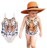 Wholesale Girls Bikini Girls One piece Swimwear Summer D Tiger Printing Baby Infant Swimsuit for Girls Kids Baby Swimming Clothing