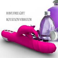 Wholesale Pink Rabbit vibrator degree rotating vibrator big vibrating dildo clitoris stimulator adult toys sex toy for women