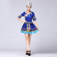 Wholesale The miao costumes new yi tujia costumes dance costumes wa province minority pleated skirt