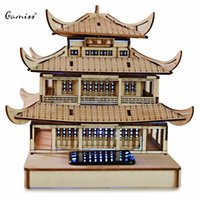Wholesale High Quality Colored Drawing DIY Veneer Yueyang Tower with Automatic Solar LED Light Sensation Romantic Gift for Valentine s