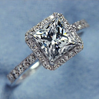 band sparkles - Vecalon Sparkling Women Jewelry Princess cut ct Simulated diamond Cz Wedding Band Ring White Gold Filled Female Finger ring