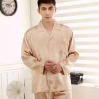 bath sets for men - South Korea Silk Pyjamas for Men Summer Long Sleeved Casual Home Furnishing Sleepwear Bath Robe Pajama Sets Pijama Male