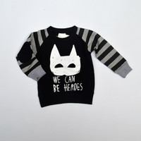 Wholesale Spring Kids Boys Girls Batman We Can Be Heros Letter Pattern Sweater Shirts Kids Clothing Toddler Boys T shirts