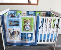 Wholesale 7Pcs Baby bedding set Embroidery D dog and bear Crib bedding set Quilt Bumper bed Skirt Fitted Cot bedding set cotton blue