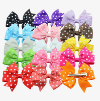 barrettes for toddlers - Baby grosgrain spot bow Hair Bows Clips pinwheel polka dot bows Colors quot hair bows hairclips for girls toddler girl hair accessories
