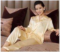 Wholesale Wholesales Price Women silk Pajamas long sleeve soft sleepwear comfortable Pajamas set