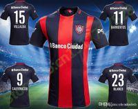 Wholesale 2016 Thailand Qualit San Lorenzo soccer jerseys home Red Blue Uniforms Maillot de foot BARRIENTOS BLANCO Men Football Shirts