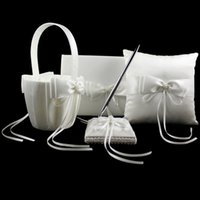 Wholesale 4pcs set Ivory Ring Pillow Set with Beads and Silk Ribbon Bowknot Pen Stand Flower Basket Guest Book Ring Pillow for Wedding Party