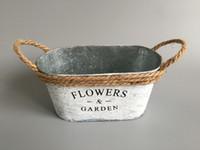 antique coats - 10Pcs Metal Flower Tub cheap Herbs Planters Rustic Planters with rope handle Rustic Flower Garden Nursery Pot antique white