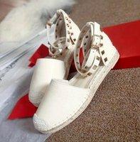 ankle strap espadrilles - Fashion Rivets Women Flat Sandals Summer Ankle Strap Genuine Soft Leather Design Flats Espadrilles Shoes For Women