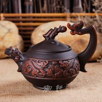 antique tea strainers - Yixing Zisha teapot handmade teapot handle mud ore Zhu Shuanglongxizhu antique teapot special offer