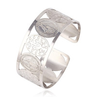 bangles pattern - Fashion Women Rhodium Color Stainless Steel Jewelry Bangle Religion Wide Bangles With Jesus Pattern Jewelry From Xuping Brand