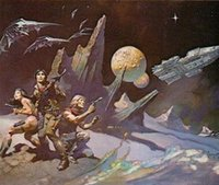 art space hands - Space Attack by Frank Frazetta genuine Hand Painted Famous Fantasy Fine Art Oil Painting On High Quality Canvas any customized size accepted
