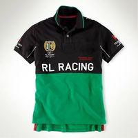 Wholesale RL Racing Team Sports Mens Polo T Shirts USA Famous Brand Cotton Embroidery Big Pony ITALIA ESPANA DEUTSCHLAND Mens Short Sleeve Shirts